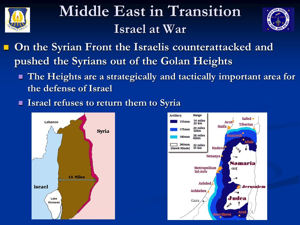 Middle East in Transition Israel at War On the Syrian Front the Israelis counterattacked and pushed the Syrians out of the Golan Heights On the Syrian