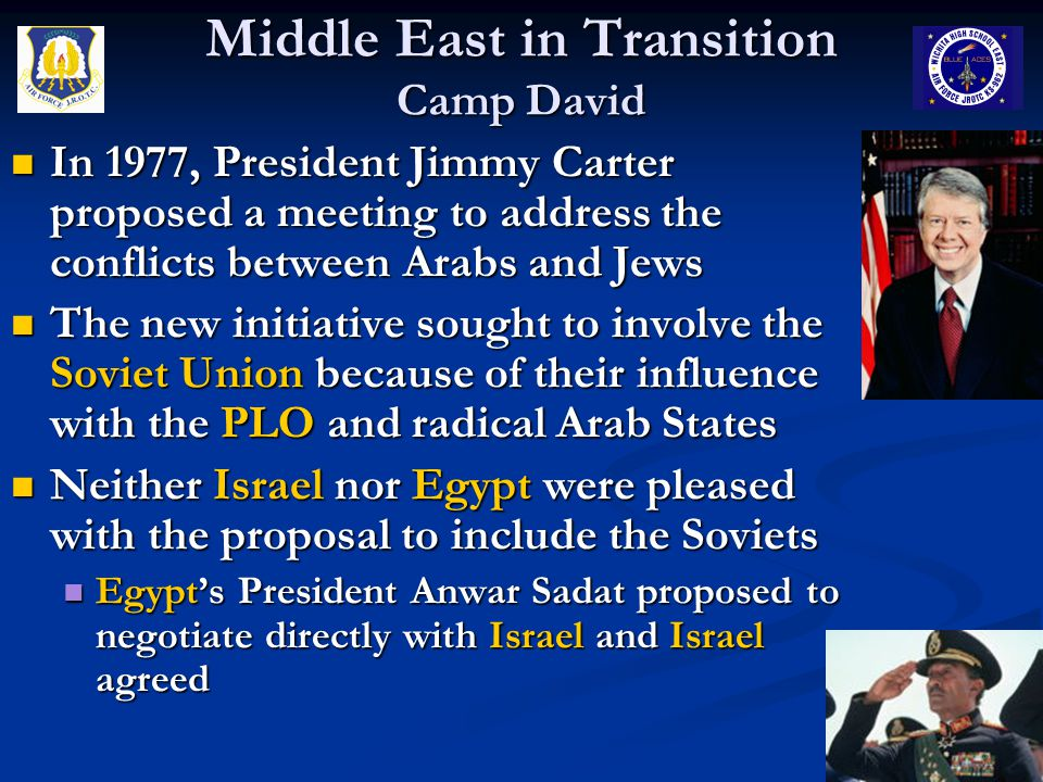 Middle East in Transition Camp David In 1977, President Jimmy Carter proposed a meeting to address the conflicts between Arabs and Jews In 1977, Presi