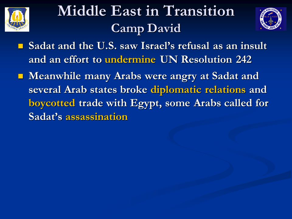 Middle East in Transition Camp David Sadat and the U.S. saw Israel's refusal as an insult and an effort to undermine UN Resolution 242 Sadat and the U