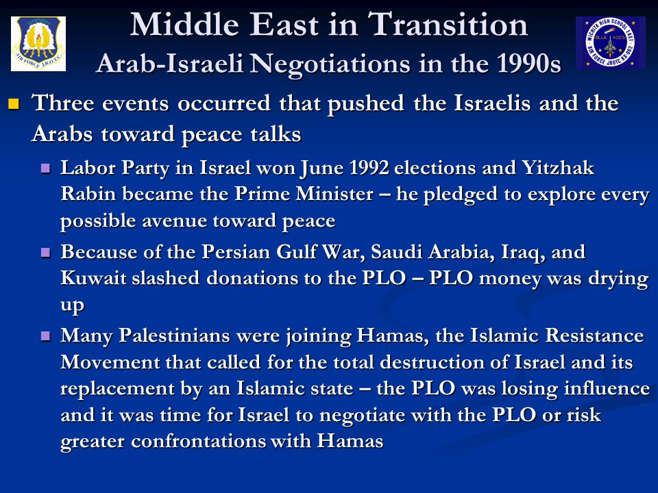 Middle East in Transition Arab-Israeli Negotiations in the 1990s Three events occurred that pushed the Israelis and the Arabs toward peace talks Three