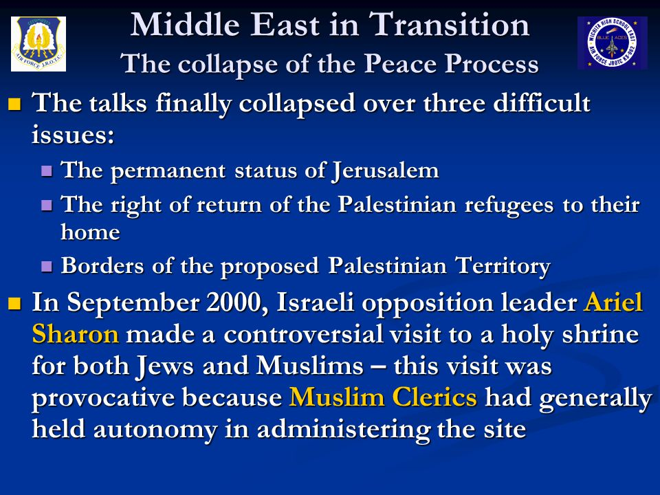 Middle East in Transition The collapse of the Peace Process The talks finally collapsed over three difficult issues: The talks finally collapsed over