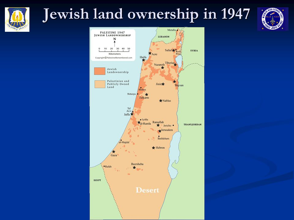Jewish land ownership in 1947 Desert
