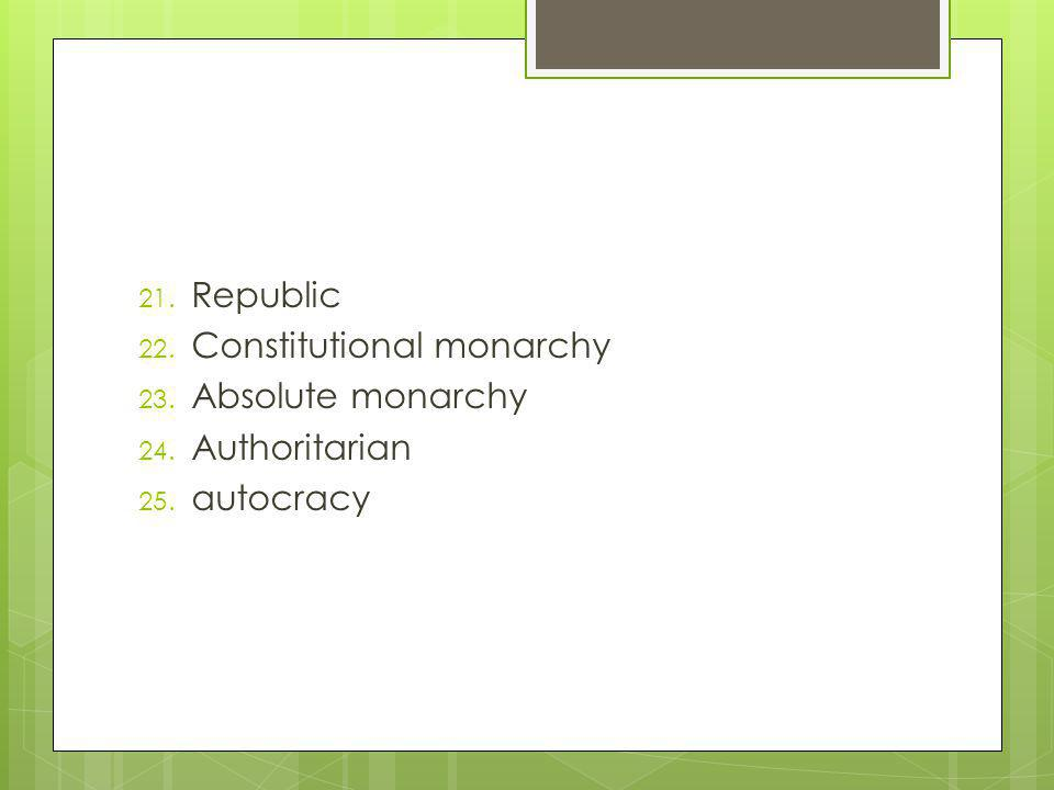 21. Republic 22. Constitutional monarchy 23. Absolute monarchy 24. Authoritarian 25. autocracy