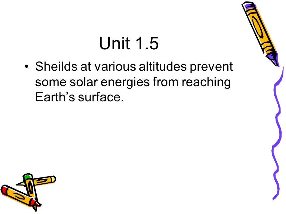 Unit 1.5 Sheilds at various altitudes prevent some solar energies from reaching Earth's surface.