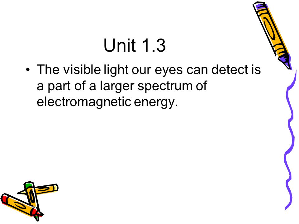 Unit 1.3 The visible light our eyes can detect is a part of a larger spectrum of electromagnetic energy.