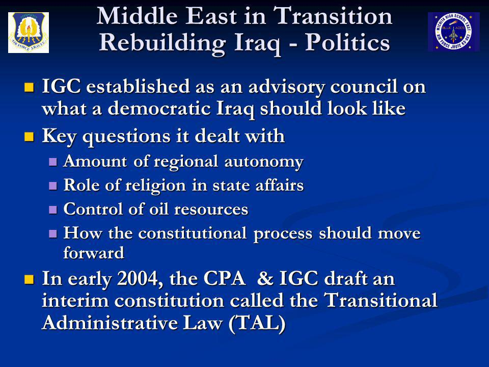IGC established as an advisory council on what a democratic Iraq should look like IGC established as an advisory council on what a democratic Iraq sho