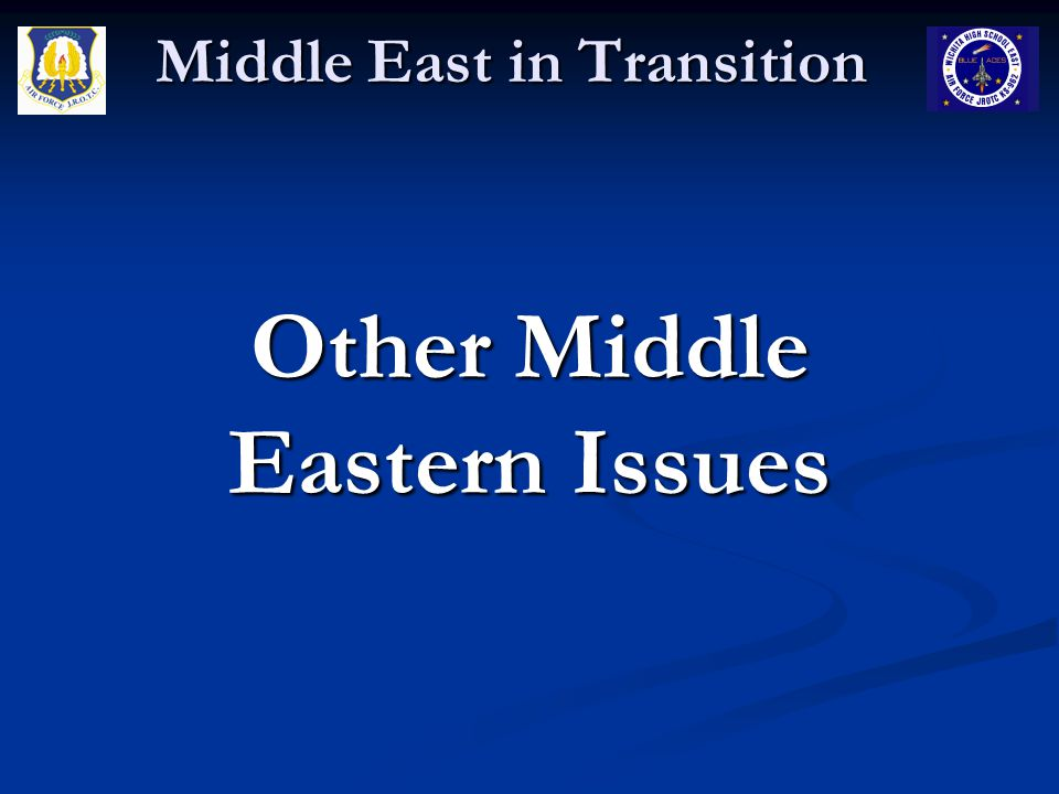 Middle East in Transition Water Resources Over the years Israel and its Arab neighbors have participated in complex negotiations over shared water resources – with growing populations the existing ground and surface water resources are not sufficient to meet demand Over the years Israel and its Arab neighbors have participated in complex negotiations over shared water resources – with growing populations the existing ground and surface water resources are not sufficient to meet demand Israel currently obtains water from the Jordan and Yarmuk rivers and distributes it to the entire country and from deep well aquifers which are unfortunately being depleted and contaminated by sea water Israel currently obtains water from the Jordan and Yarmuk rivers and distributes it to the entire country and from deep well aquifers which are unfortunately being depleted and contaminated by sea water