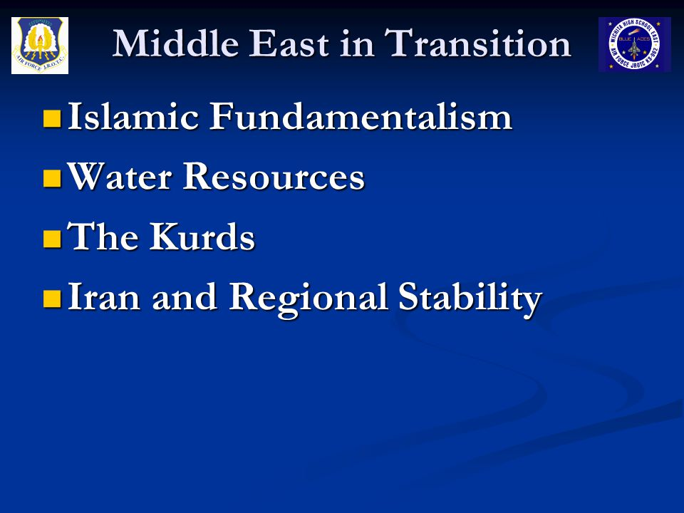 Middle East in Transition Islamic Fundamentalism Definitions Definitions Fundamentalism – Originated from Christianity, refers to people who believe in the literal interpretation of the bible Fundamentalism – Originated from Christianity, refers to people who believe in the literal interpretation of the bible Islamic Fundamentalism – those Muslims who wish to follow a strict, traditional interpretation of Islam – distinguishing between Muslim groups based on fundamentalism is misleading because all Muslims believe in the Koran and the infallible word of God – the level of strictness is a defining characteristic Islamic Fundamentalism – those Muslims who wish to follow a strict, traditional interpretation of Islam – distinguishing between Muslim groups based on fundamentalism is misleading because all Muslims believe in the Koran and the infallible word of God – the level of strictness is a defining characteristic