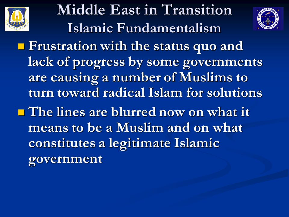Middle East in Transition Islamic Fundamentalism Bin Laden was the mastermind and/or financial backer for at least 4 attacks on the U.S.