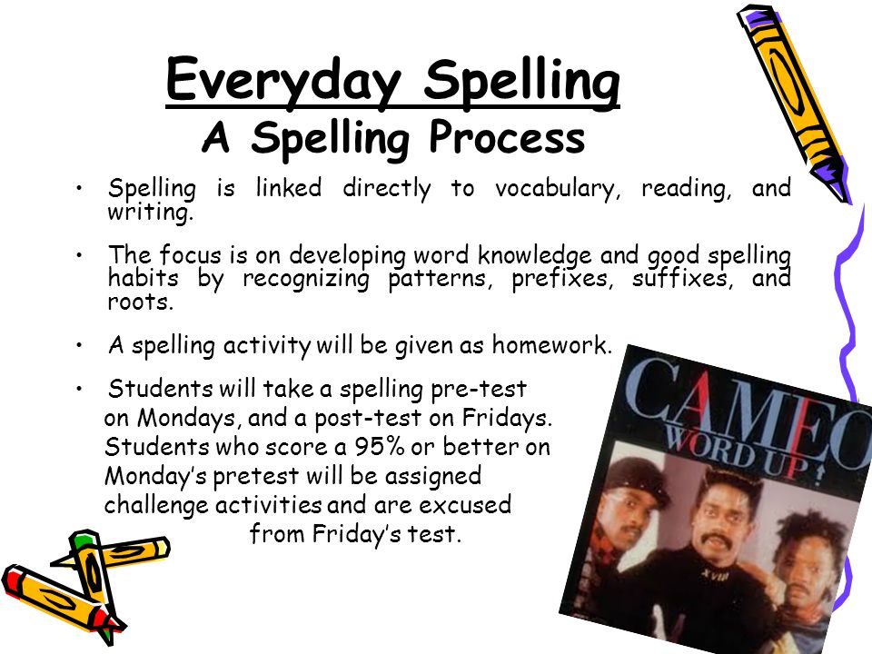 Everyday Spelling A Spelling Process Spelling is linked directly to vocabulary, reading, and writing.