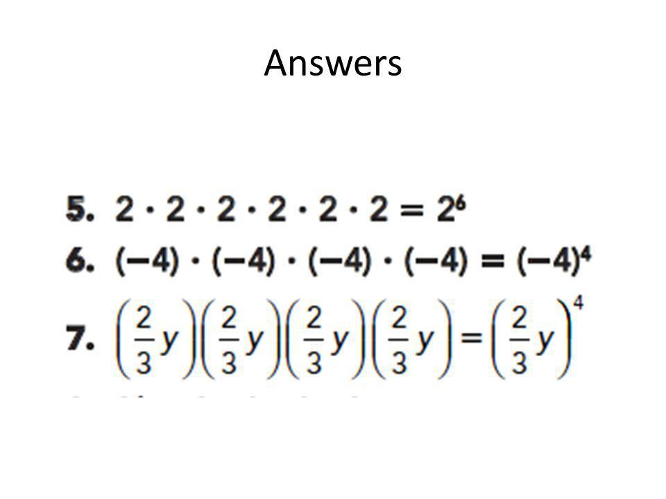 More notes… Expand and evaluate expressions in exponential notation