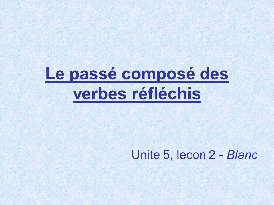When we want to talk about the action of a reflexive verb occurring in the past, we will need to know how to form the passé composé of these verbs.