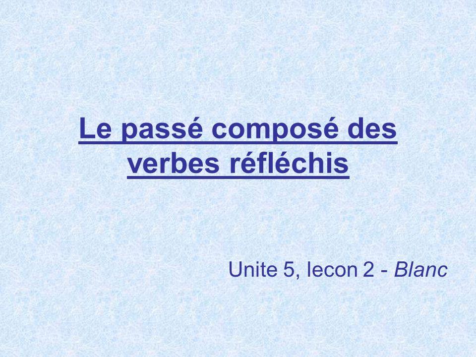 Le passé composé des verbes réfléchis Unite 5, lecon 2 - Blanc