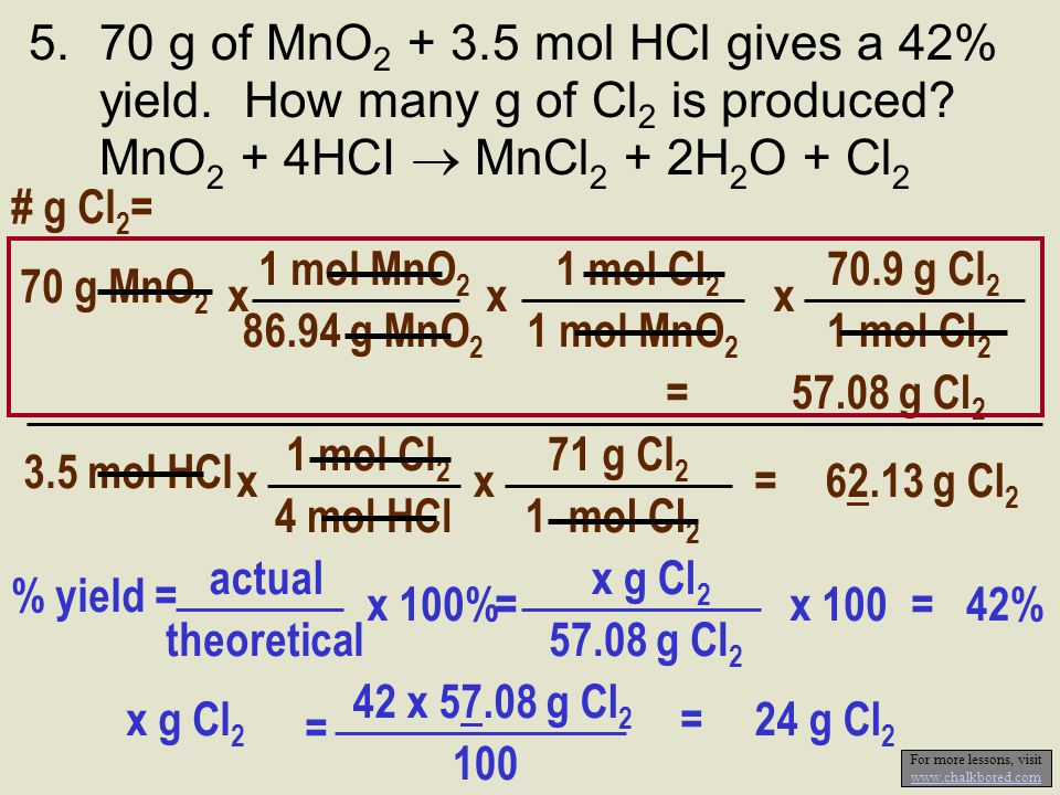 5.70 g of MnO 2 + 3.5 mol HCl gives a 42% yield. How many g of Cl 2 is produced? MnO 2 + 4HCI  MnCl 2 + 2H 2 O + Cl 2 1 mol Cl 2 4 mol HCl x 3.5 mol