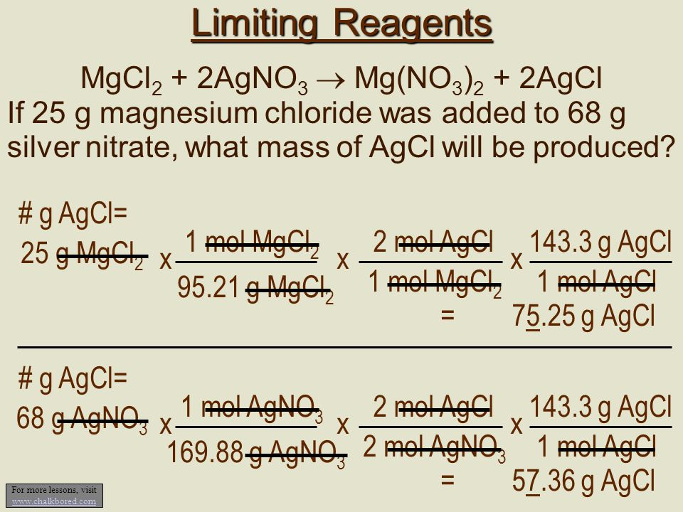Limiting Reagents MgCl 2 + 2AgNO 3  Mg(NO 3 ) 2 + 2AgCl If 25 g magnesium chloride was added to 68 g silver nitrate, what mass of AgCl will be produc