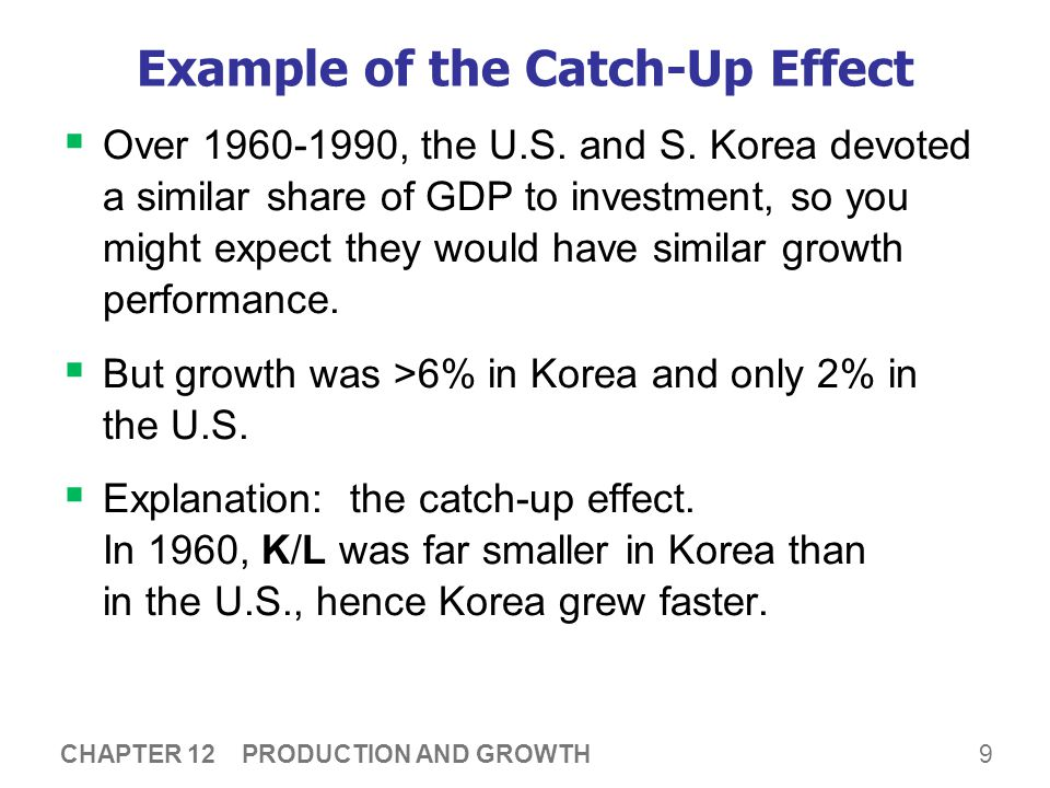9 CHAPTER 12 PRODUCTION AND GROWTH Example of the Catch-Up Effect  Over 1960-1990, the U.S. and S. Korea devoted a similar share of GDP to investment