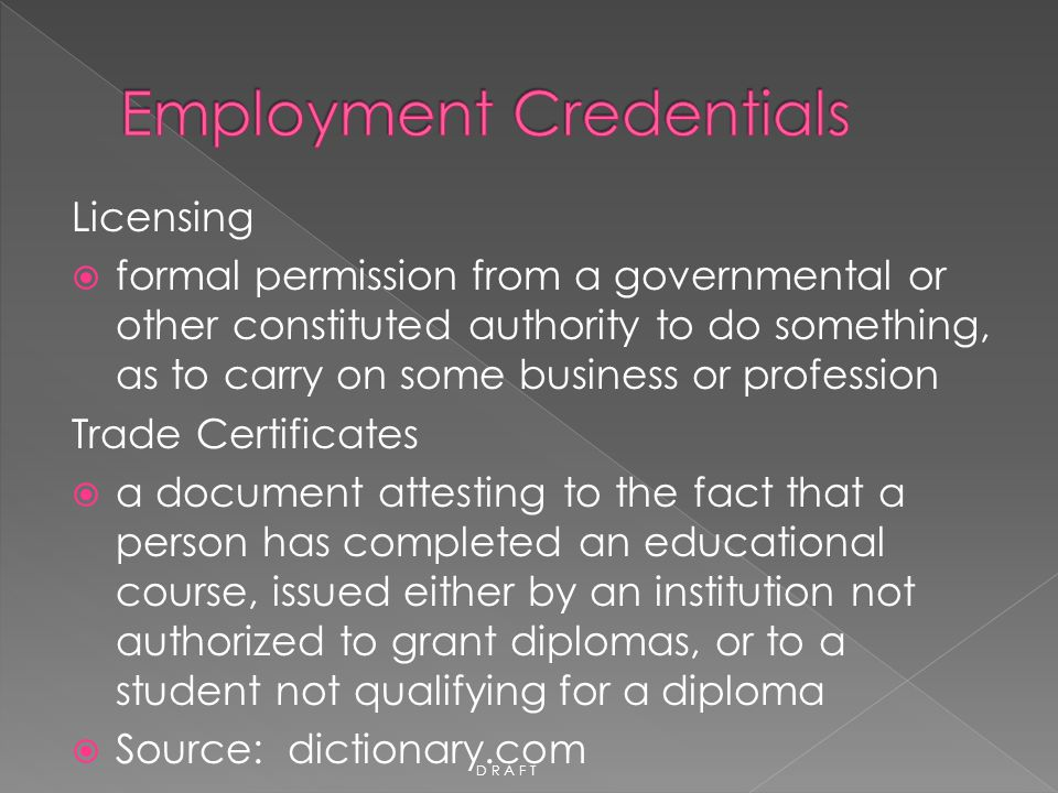 Licensing  formal permission from a governmental or other constituted authority to do something, as to carry on some business or profession Trade Cer