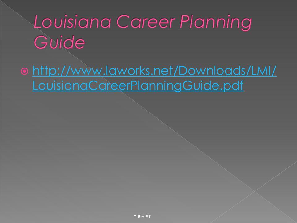  http://www.laworks.net/Downloads/LMI/ LouisianaCareerPlanningGuide.pdf http://www.laworks.net/Downloads/LMI/ LouisianaCareerPlanningGuide.pdf D R A