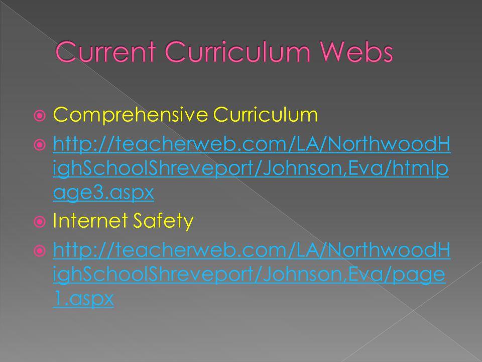 Comprehensive Curriculum  http://teacherweb.com/LA/NorthwoodH ighSchoolShreveport/Johnson,Eva/htmlp age3.aspx http://teacherweb.com/LA/NorthwoodH ighSchoolShreveport/Johnson,Eva/htmlp age3.aspx  Internet Safety  http://teacherweb.com/LA/NorthwoodH ighSchoolShreveport/Johnson,Eva/page 1.aspx http://teacherweb.com/LA/NorthwoodH ighSchoolShreveport/Johnson,Eva/page 1.aspx