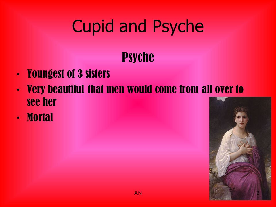 Cupid and Psyche Venus Mother of Cupid It is said that Psyche was more beautiful than her Also known as Aphrodite Goddess of Love and Beauty Wife of Hephaestus Weak, unlike a war god Known for treachery involving men 4AN