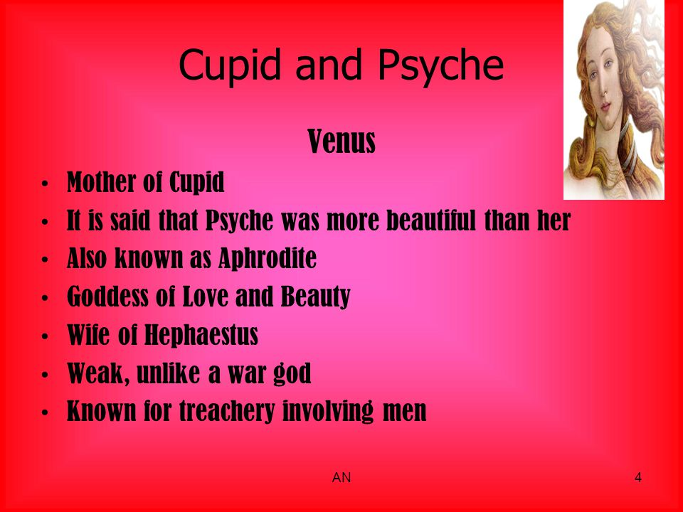 Cupid and Psyche Venus Mother of Cupid It is said that Psyche was more beautiful than her Also known as Aphrodite Goddess of Love and Beauty Wife of H
