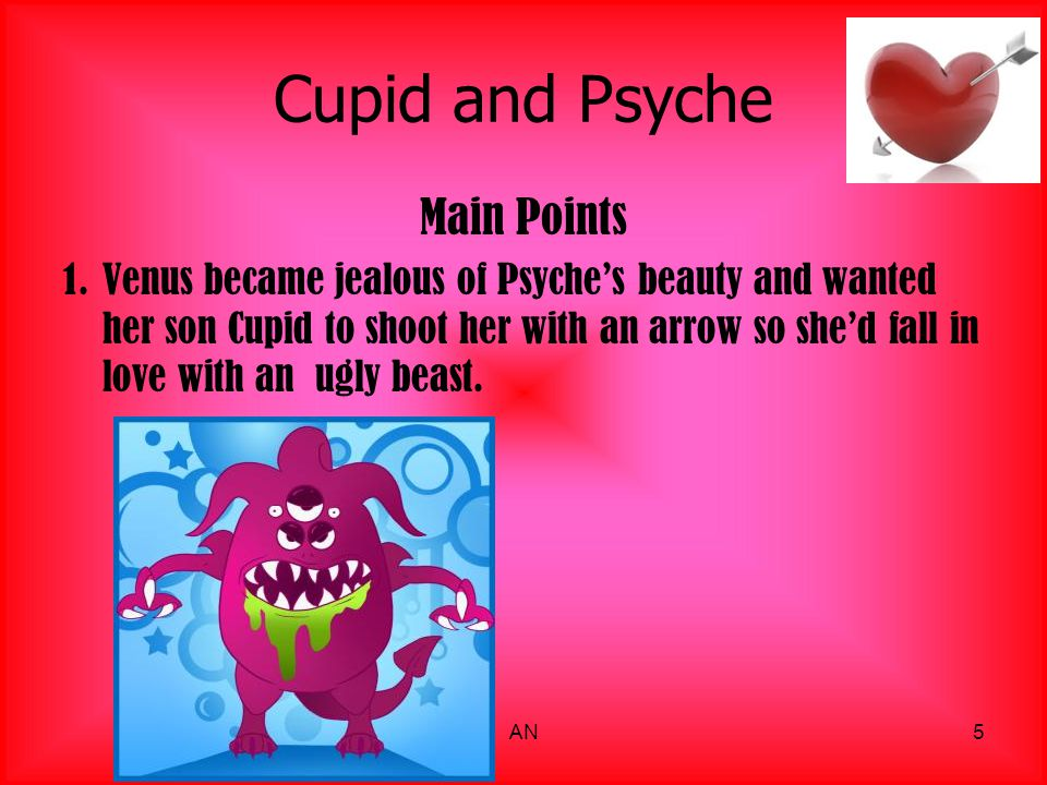 Cupid and Psyche Main Events 2.Cupid falls in love with Psyche but doesn t tell Venus.