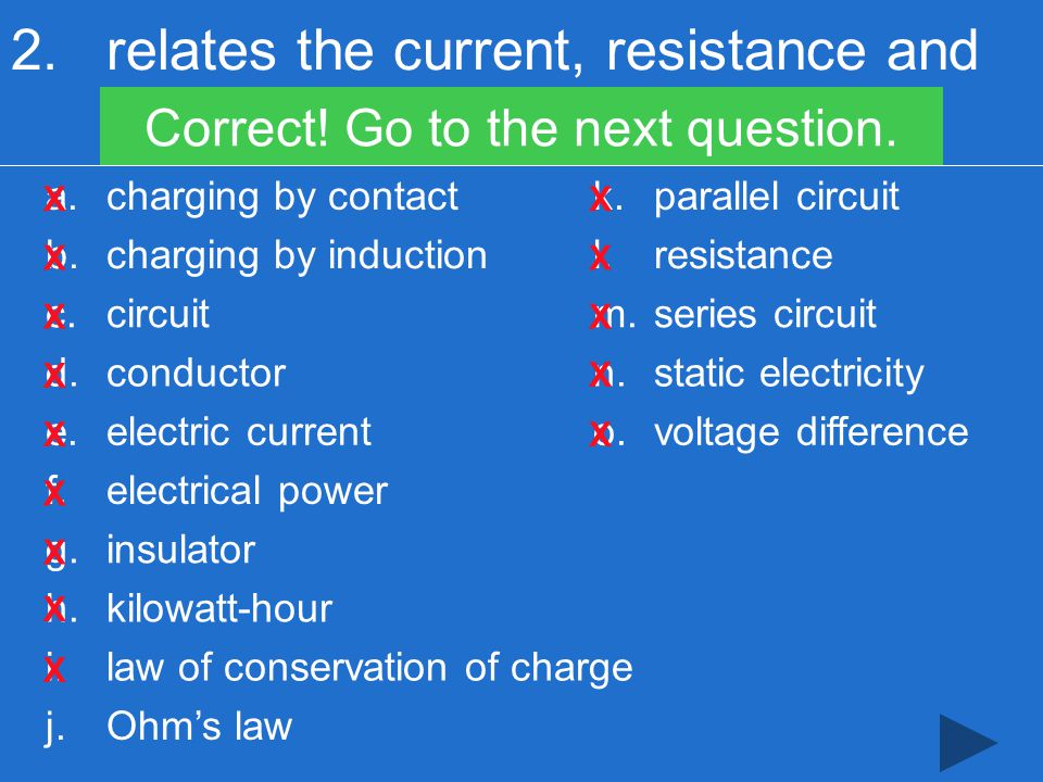 2.relates the current, resistance and voltage difference in a circuit Correct.