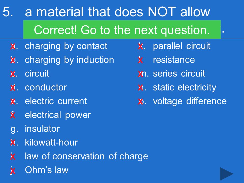 5.a material that does NOT allow electrons to easily flow through it.