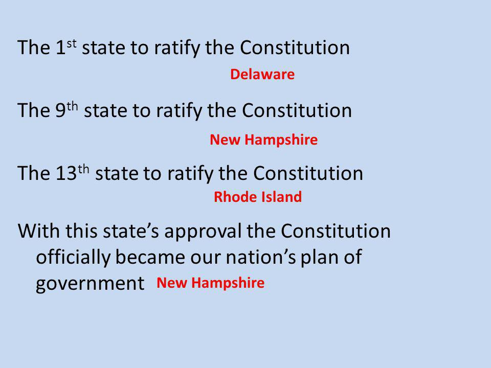 The 1 st state to ratify the Constitution The 9 th state to ratify the Constitution The 13 th state to ratify the Constitution With this state's approval the Constitution officially became our nation's plan of government Delaware New Hampshire Rhode Island New Hampshire