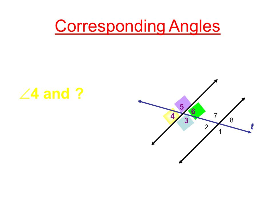 Corresponding Angles 3 4 5 6 t  4 and ? 2 1 7 8