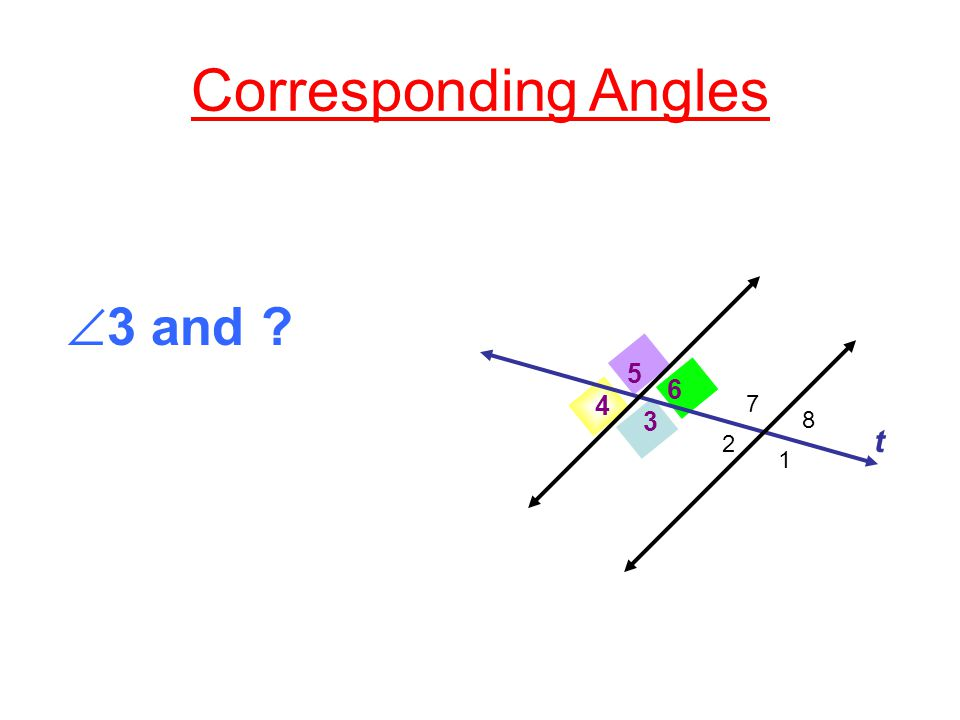 Corresponding Angles 3 4 5 6 t  4 and 2 1 7 8