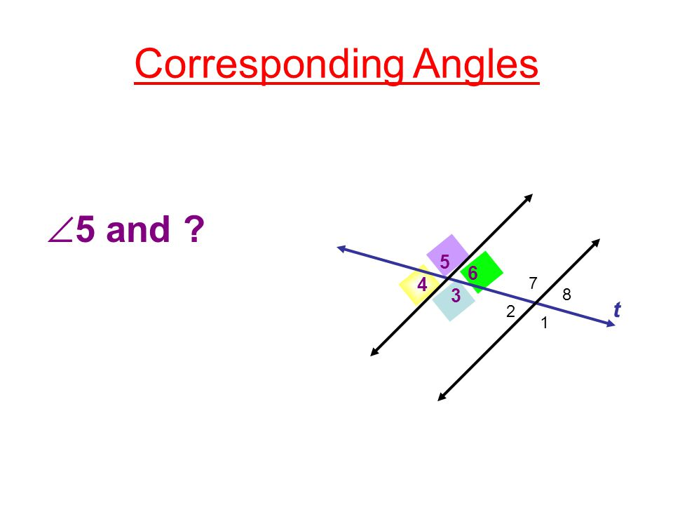 Corresponding Angles 3 4 5 6 t 1 2 7 8  3 and