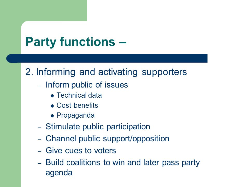 Party functions – 2.