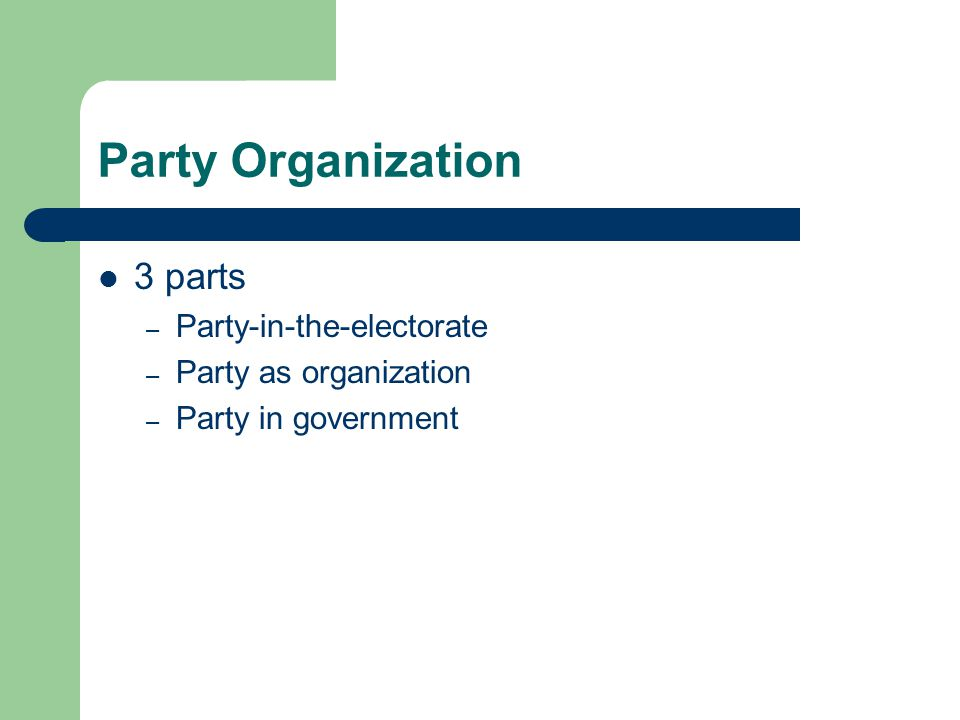 Party Organization 3 parts – Party-in-the-electorate – Party as organization – Party in government