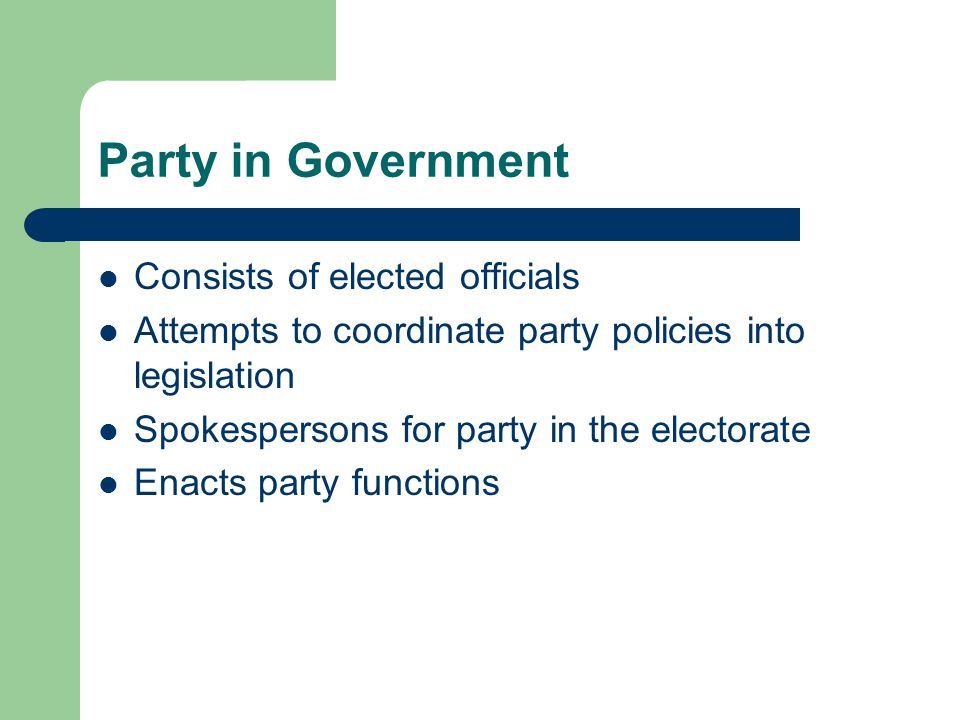 Party = Linkage institution A tool to connect a person with its government Does not include constitutionally established institutions of govt such as Congress, courts, etc