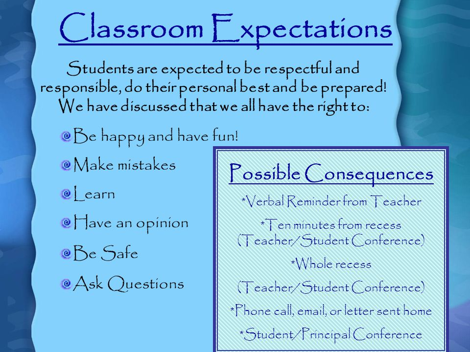 Classroom Expectations Students are expected to be respectful and responsible, do their personal best and be prepared.