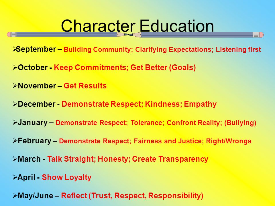 Character Education  September – Building Community; Clarifying Expectations; Listening first  October - Keep Commitments; Get Better (Goals)  November – Get Results  December - Demonstrate Respect; Kindness; Empathy  January – Demonstrate Respect; Tolerance; Confront Reality; (Bullying)  February – Demonstrate Respect; Fairness and Justice; Right/Wrongs  March - Talk Straight; Honesty; Create Transparency  April - Show Loyalty  May/June – Reflect (Trust, Respect, Responsibility)