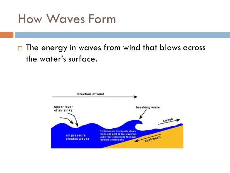 How Waves Form  The energy in waves from wind that blows across the water's surface.