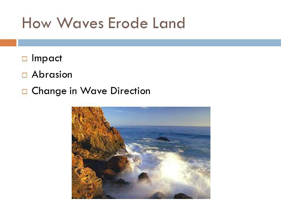 How Waves Erode Land  Impact  Abrasion  Change in Wave Direction