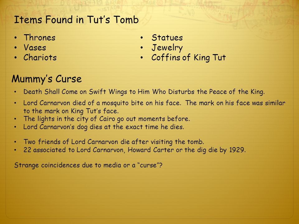 Items Found in Tut's Tomb Thrones Vases Chariots Statues Jewelry Coffins of King Tut Mummy's Curse Death Shall Come on Swift Wings to Him Who Disturbs the Peace of the King.