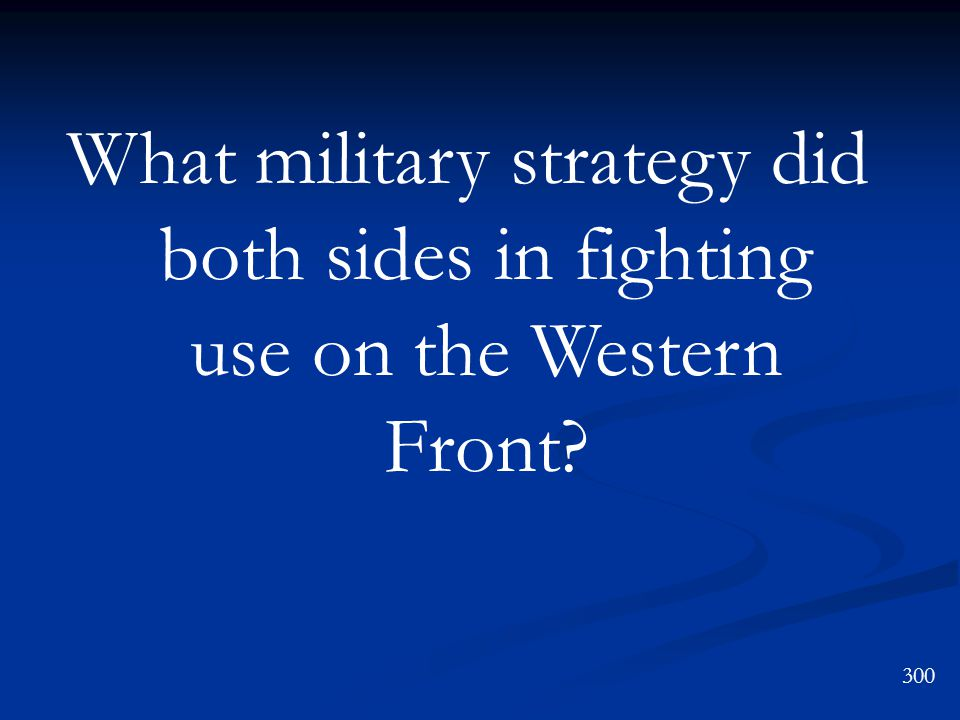 What military strategy did both sides in fighting use on the Western Front 300