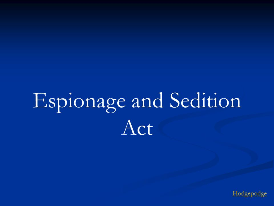 Espionage and Sedition Act Hodgepodge