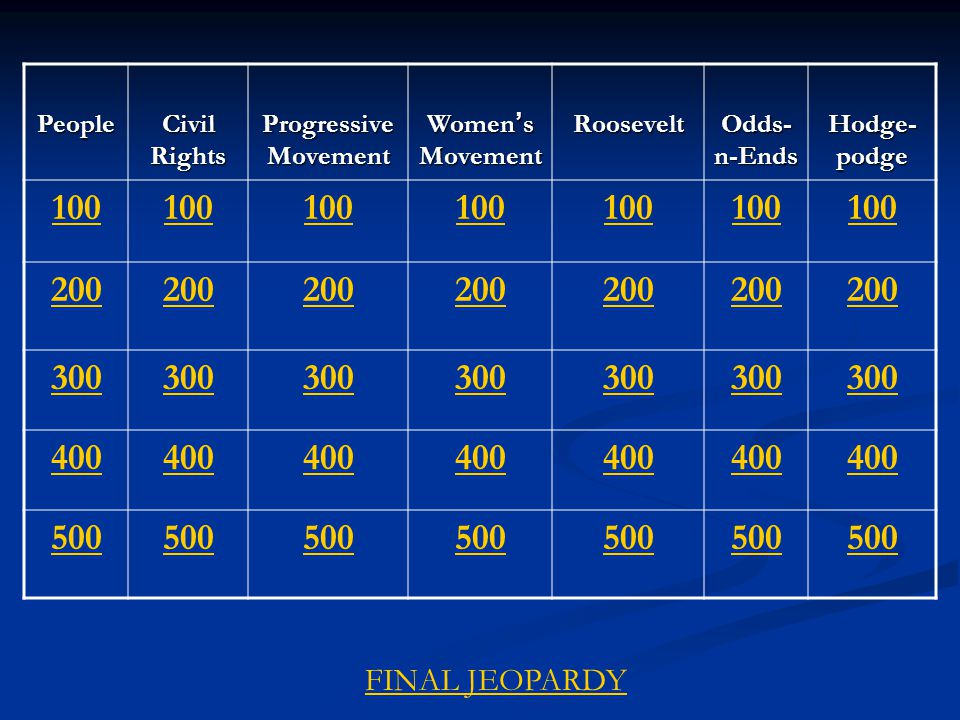 People Civil Rights Progressive Movement Women ' s Movement Roosevelt Odds- n-Ends Hodge- podge 100 200 300 400 500 FINAL JEOPARDY