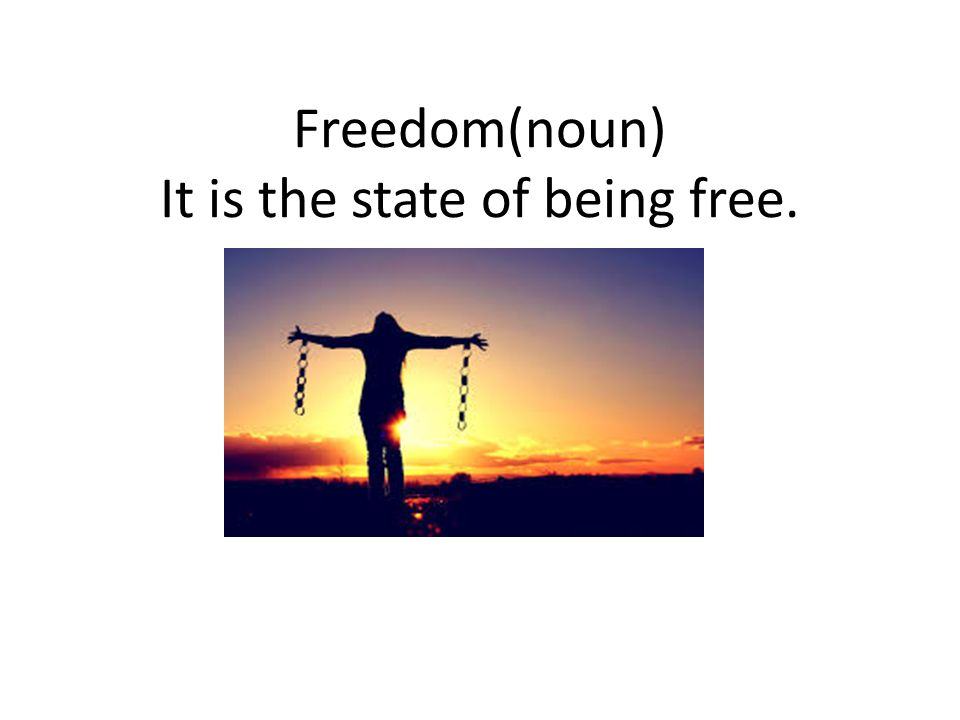 Freedom(noun) It is the state of being free.