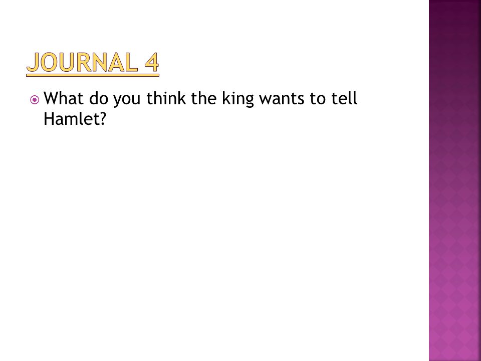  What do you think the king wants to tell Hamlet?