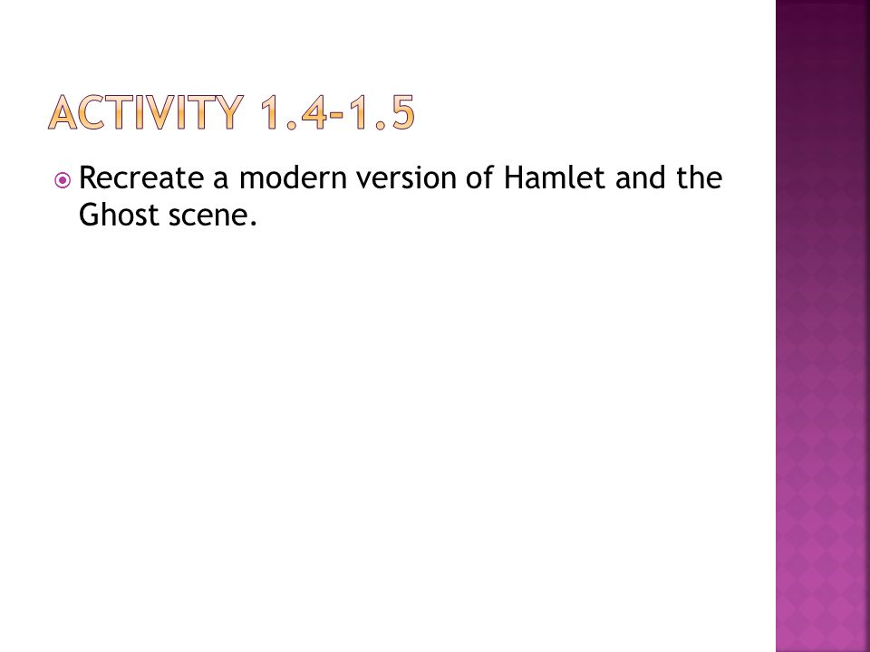  Recreate a modern version of Hamlet and the Ghost scene.