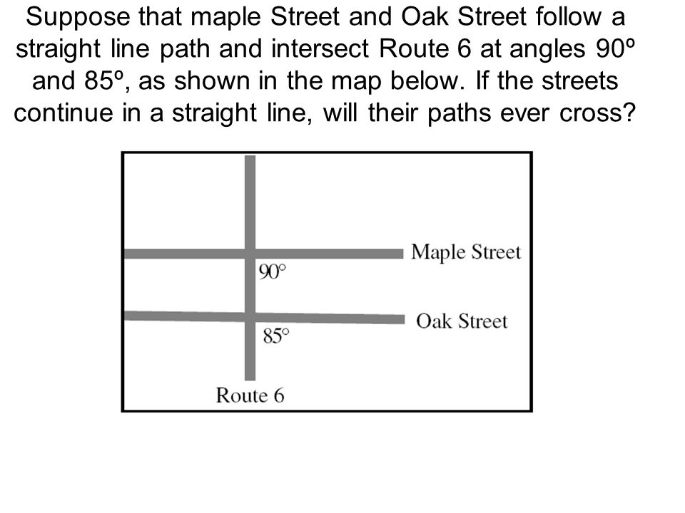 Suppose that maple Street and Oak Street follow a straight line path and intersect Route 6 at angles 90º and 85º, as shown in the map below. If the st
