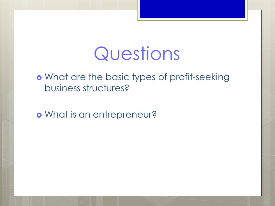 Questions  What are the basic types of profit-seeking business structures?  What is an entrepreneur?