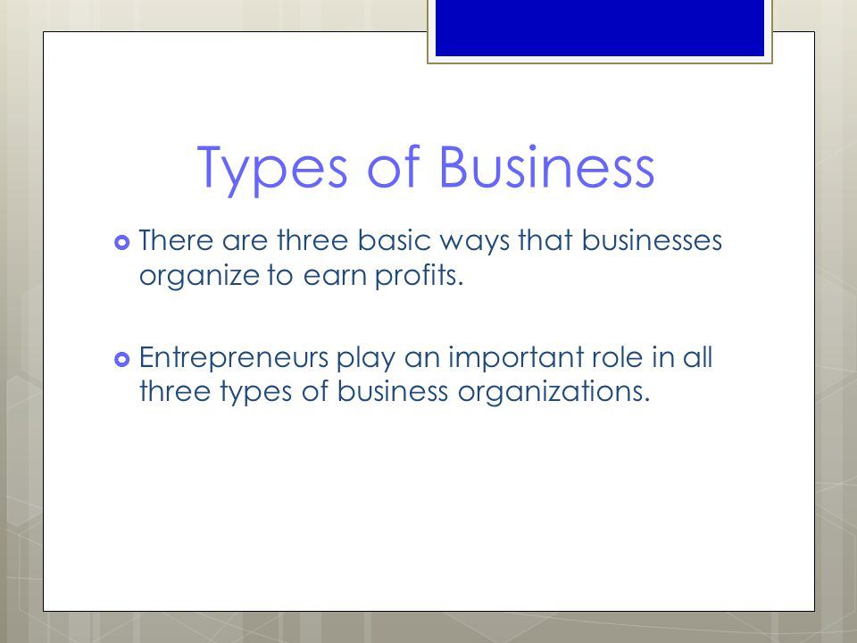 Types of Business  There are three basic ways that businesses organize to earn profits.  Entrepreneurs play an important role in all three types of