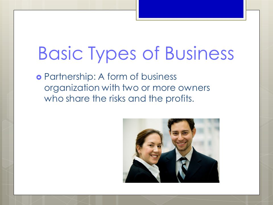 Basic Types of Business  Partnership: A form of business organization with two or more owners who share the risks and the profits.